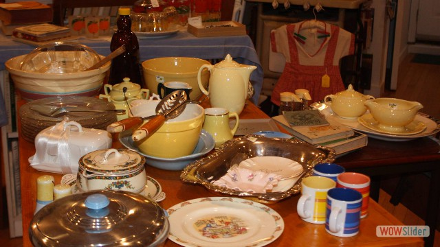 LuRay pottery, English ironstone, yellowware, and good old American glass.